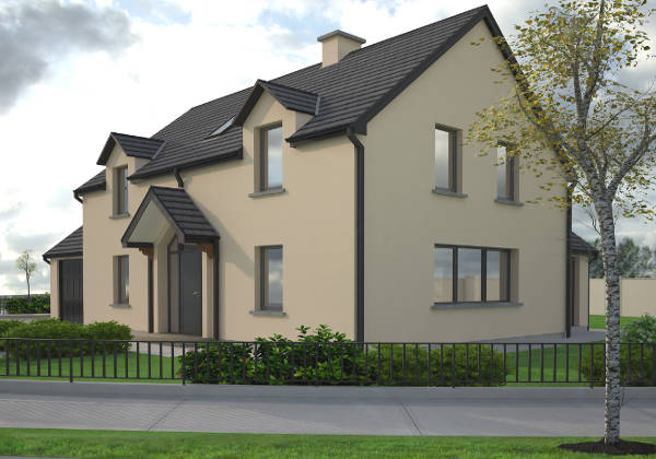 Exterior of 4 bedroom A1 rated home in Westmeath, featuring fenced landscaped grounds and A1 energy rated windows and doors